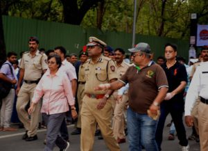 Police Commissioner Rashmi Shukla becomes the first police commissioner to walk with Palkhi . In the pune Police commissionarate history, this is the first time ever where a police commissioner & Jt police commissioner Mr Sunil Ramanand had walked with the Warkaris as a citizens, Mrs Shukla was encouraging the Warkaris on the way & also spoke with them, she also watched the huge RANGOLIS & appreciated the slogans made on Rangolis. Devendra Jain Sr correspondent UNI Pune Bureau